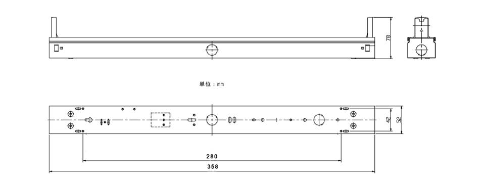 FL10×1灯用の寸法図