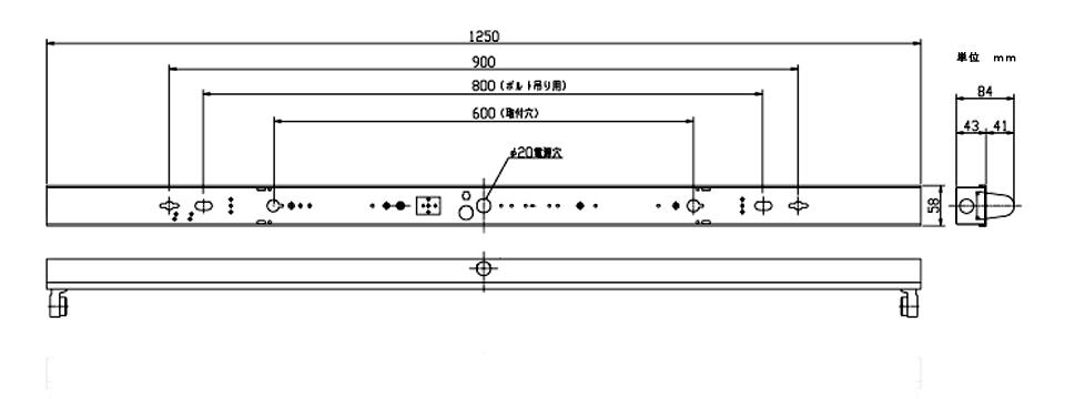 FL40×1灯用の寸法図